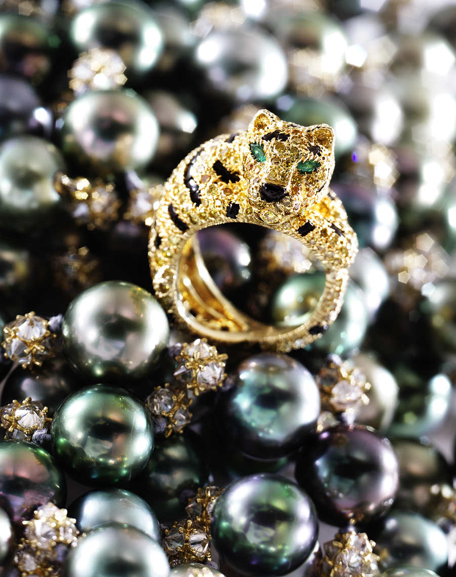 Jewelry Photography  - Gold Cat Ring on Tahitian Pearls