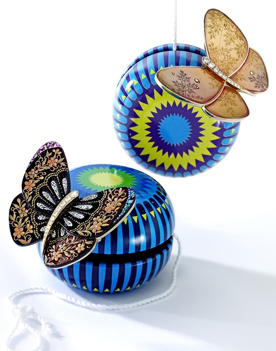 Jewelry Photography -  Lacquer and Diamond  Brooches, Van Cleef & Arpels