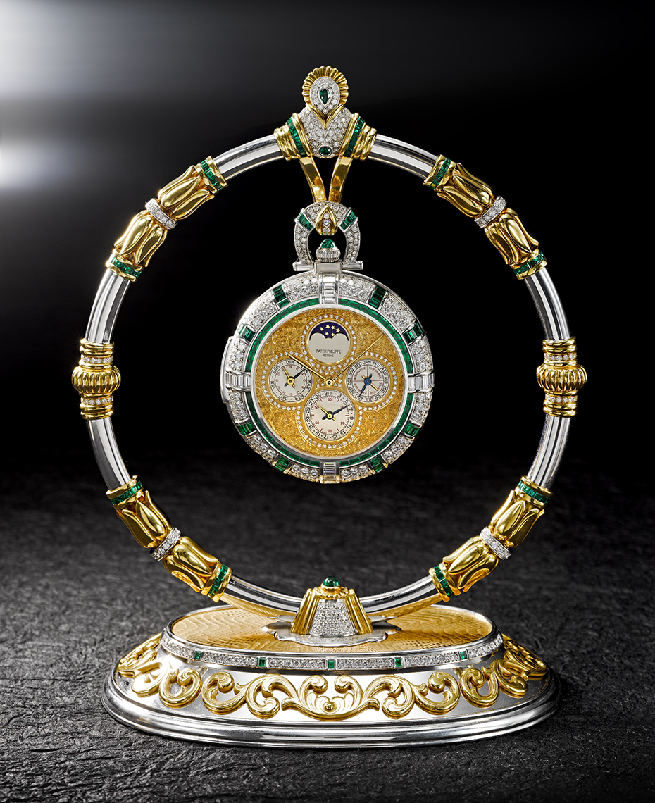 Timepiece Photography - Patek Philippe Diamond, Emerald and Gold Pocket watch