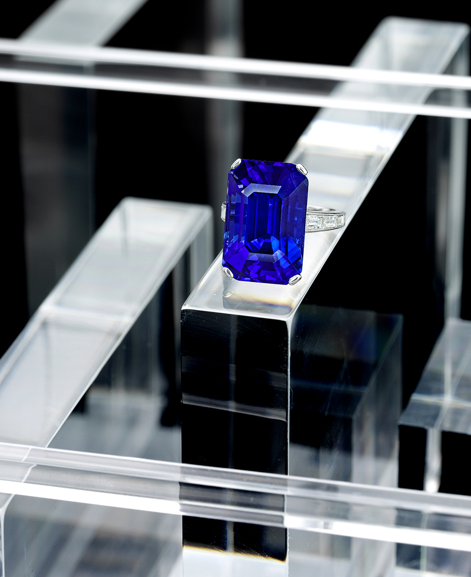 Jewelry Photography - Emerald Cut Sapphire Ring on Lucite