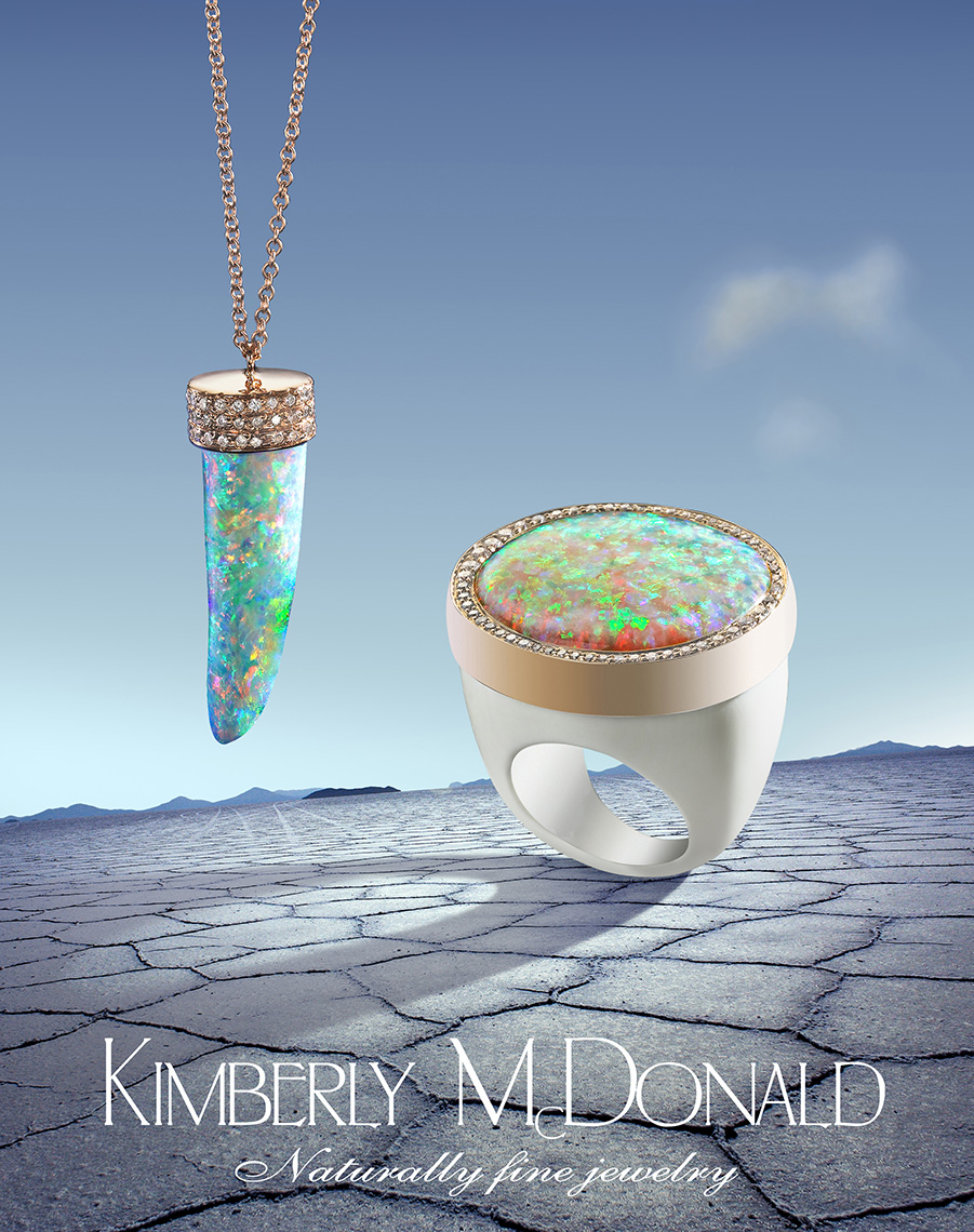 KimberlyMcDonald Fire Opal and Diamond Ring and Necklace