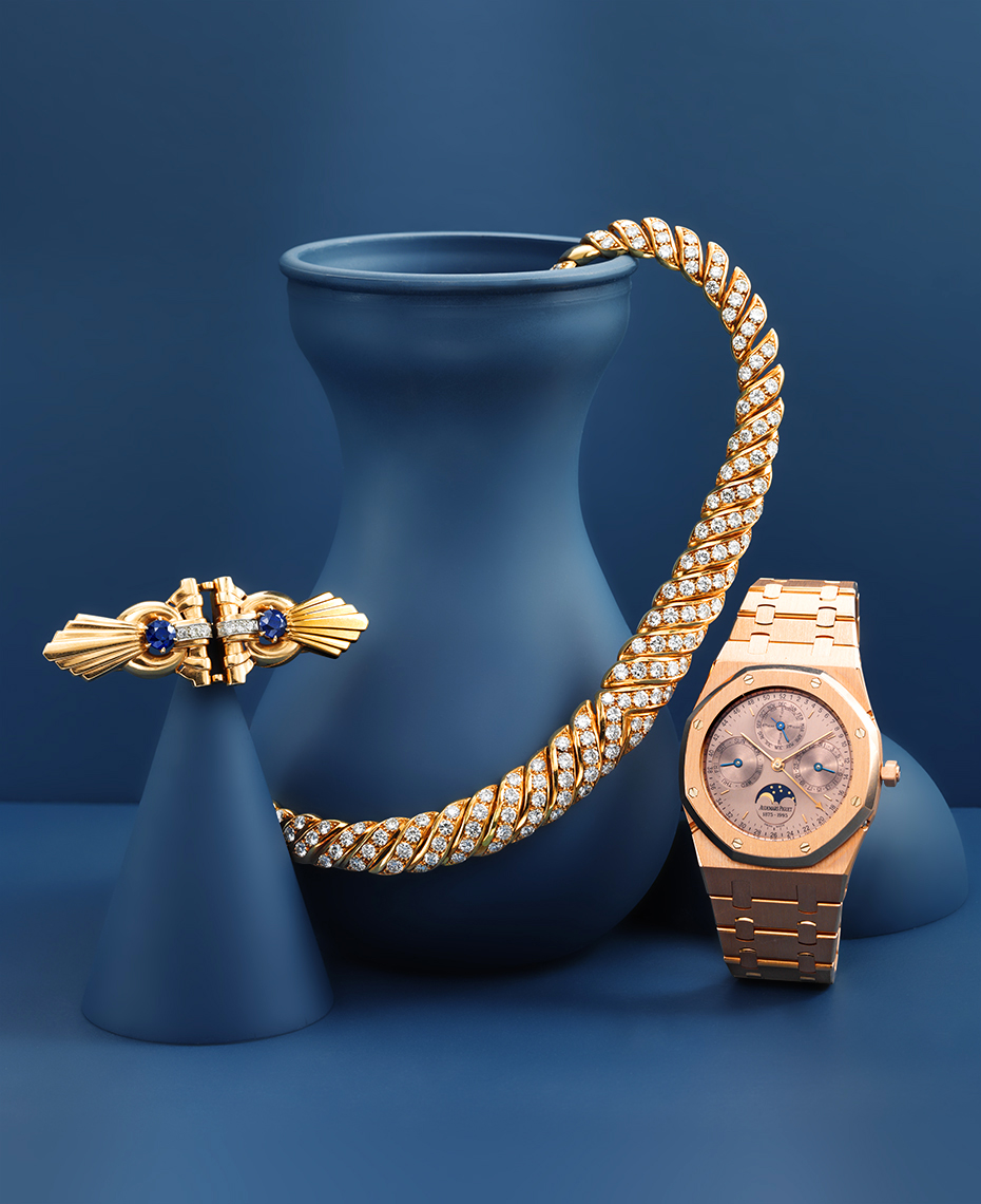 Editorial Photography  - Group of Gold Jewels and Watch