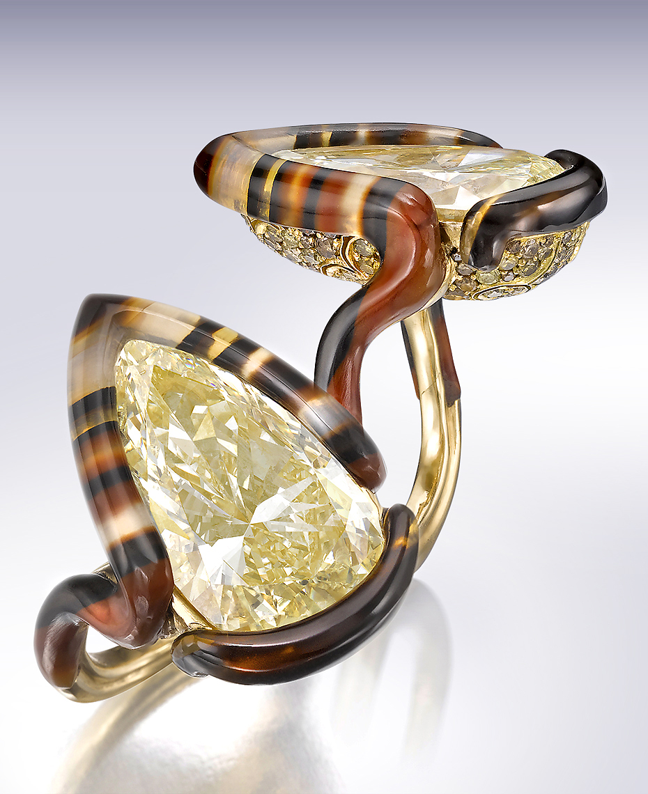 Jewelry Photography  - Nicholas Varney Agate and Yellow Diamond Ring