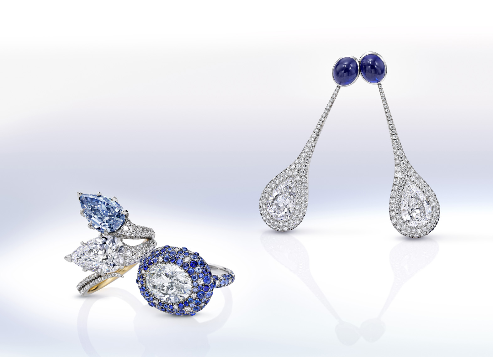 Saphire and diamond jewelry