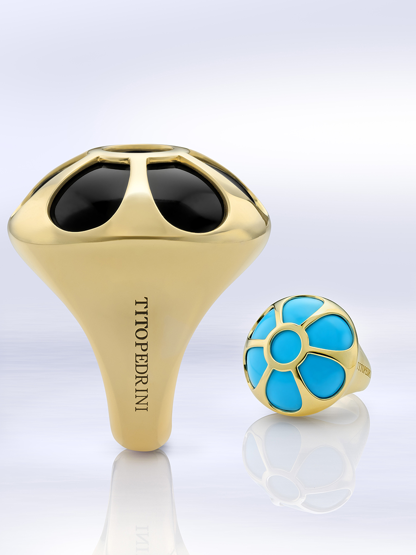 TitoPedrini Gold, turquoise, and onyx rings